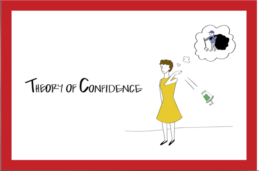 Theory of confidence slide depicting a women throwing trash on the ground and thinking someone else will pick it up.