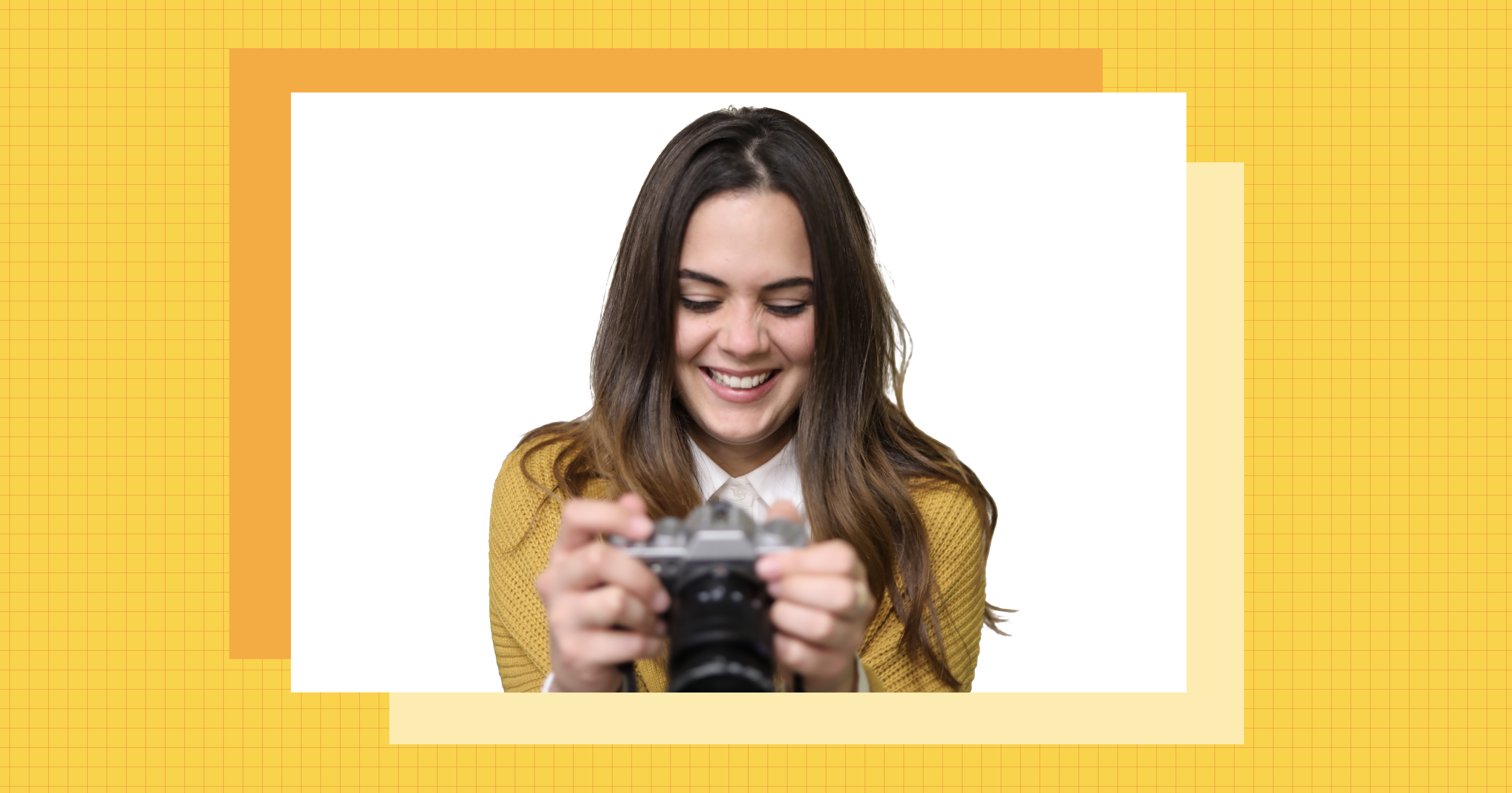 Karla looking at a camera smiling. They are also in a yellow frame.